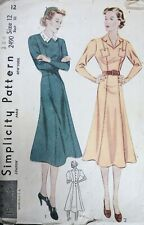 Vtg 1930s Simplicity 2490 Back Button Belted Panel Day Dress Sewing Pattern 12