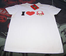 Nintendo Super Mario Super Mushroom Mens White Printed T Shirt Size S New