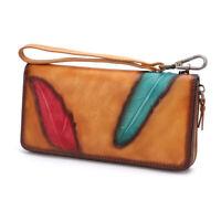 Women's Wallet Genuine Leather Zip Around Long Vintage Purse Clutch
