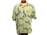 Tommy Bahama Mens Shirt Large 100% Silk Button Up Hawaiian Tan Banana Leaves