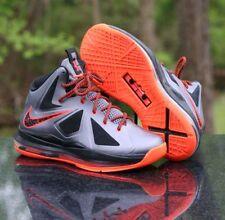 Nike LeBron X 10 GS Lava 543564-002 Charcoal Total Orange Black Boy's Size 5Y