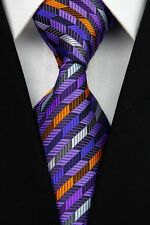 GFITS FOR MEN Classic Mens 3D Stripe Silk Striped Necktie Tie Purple Orange Blue