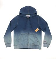 Cult of Individuality Mens 2XL Full Zip Denim Sweat Blue Palm Hoodie Faded
