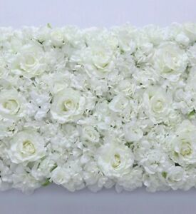 Silk artificial flower wall panels white /cream rose , hydrangea, decor backdrop