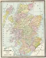 1890 Antique MAP of SCOTLAND Crams Map of Scotland Gift or Gallery Wall Art 8001