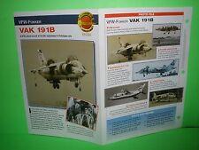VFW-FOKKER VAK 191B AIRCRAFT FACTS CARD AIRPLANE BOOK 42