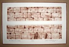 Ha'Kotel, The Wall, Original Engraving, Wahrhaftig, CA, Judaica Jewish