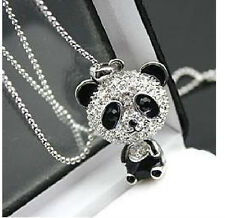N2 Betsey Johnson Exquisite Slim Crystal Little Whole Panda Necklace US