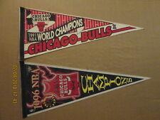 NBA Chicago Bulls Vintage 1991 World Champions & a 1996 NBA Champions Pennants
