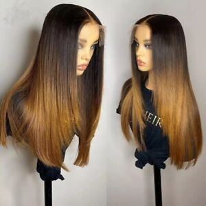 8A 180 Unprocessed Brazillian Ombre Silky Straight 13x4Lace Front Human Hair Wig