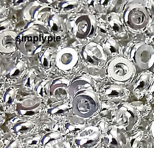 4mm Silver Plated Heishi Metal Beads 50 Heishe Spacer Brass Beads