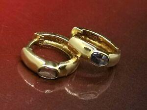 14K solid Gold Hoop Earrings Light Purple Amethyst  (617M)