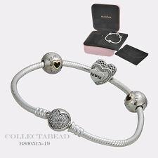 "Authentic Pandora Silver Tribute to Mom 7.5"" Bracelet Gift Set B800515-19"
