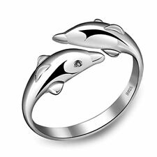 925 Silver Plt Adjustable Double Fish Dolphin Open Ring Thumb Wrap Pisces C