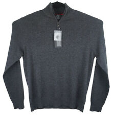 Qi Cashmere Mens Gray 1/4 Zip Sweater Size Large NWT