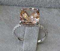 3Ct Cushion Cut Peach Morganite Halo Diamond Engagement Ring 14k White Gold Over