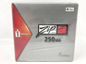 Iomega Zip 250 250MB Disks For Mac & PC 4 Pack With Cases NEW SEALED