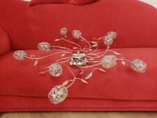Deckenleuchte Lampe Halogen 10 x 10w Kristall Blume Chrom