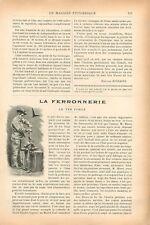 Ferronnerie Fer Forgé Outils du repousseur Tôle relevée au marteau GRAVURE 1902