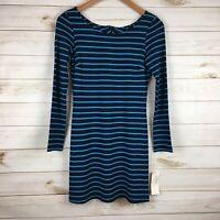 Only Hearts Helena Stuart Long Sleeve Dress Blue Striped, Size XS
