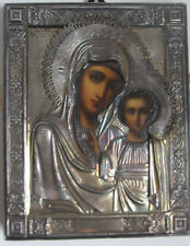 XIX secolo, Icona russa,  Madre di Dio di Kazan,  riza in argento.  Expertise.