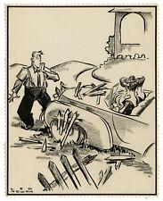 LEONARD NOWAK, 'WOMEN DRIVERS', vintage drawing, signed, c. 1940s.