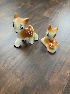 Vintage MCM Bernard Studios California Ceramics Bashful Pair of Deer Figurines