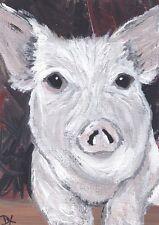 Farm Pig ACEO original acrylic painting art atc animal country face card 2.5x3.5