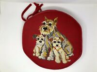 Vintage Red Needlepoint Pillow Schnauzer Dog With Puppies