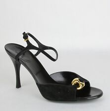 62f418eed91 Gucci Women s Black Suede Sandal Heel with Gold Detail 9.5B 160046 1000