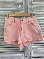 Wrangler Hi Cheeky Jeans Shorts Sz 8 Pink Cut Off Hem Flat Front Distress Pocket