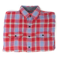Vintage Men's IZOD High Quality Plaid Real Red Button Up Long Sleeve Shirt (M)