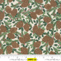Christmas MODA Holiday Lodge 100% cotton fabric by the yard Pine Cone Winter WHT