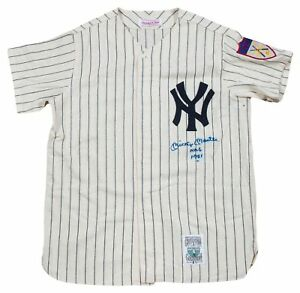 Incredible Mickey Mantle No. 6 Signed Inscribed NY Yankees Rookie Jersey PSA DNA