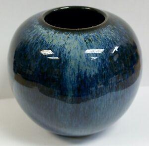 Stunning Blue Flambe Dripware Studio Pottery Globe Vase, Signed, 12cm Tall