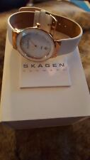 SKAGEN Mother of Pearl Dial White Leather Ladies Watch SKW2034/ Stunning !