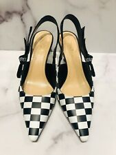 Christian DIOR J'ADIOR Checkered Black White Leather Slingback Heels Shoes