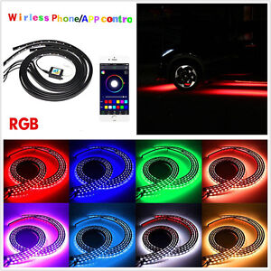 4 X Waterproof Multi-Color LED Car Chassis Light Strip Tube Lamp APP Control