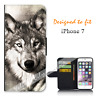 For Apple iPhone 7 Wallet Flip Phone Case Cover Wolf Portrait Y00945