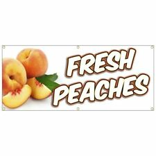 FRESH PEACHES BANNER  organic produce stand sale fruits vegetables market 20x48