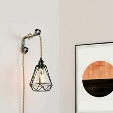 DIY Pendant Light Cord with Switch Industrial Plug in Hemp Rope Hanging Fixtures
