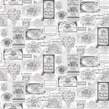 G12284 - Kitchen Recipes Wine Labels Black Grey White Galerie Wallpaper