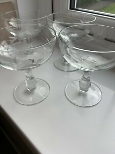 4 VINTAGE CHAMPAGNE COUPES SAUCERS ETCHED FLOWER ON BULBOUS STEM