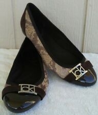 Calvin Klein Womens Sz 6 Snake Print Ballet Flats Brown Patent Leather Buckle