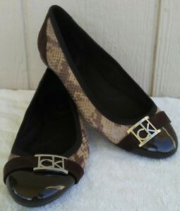 Calvin Klein Cap Toe Shoes Womens Sz 6 Patent Leather Brown Snake Ballet Flat