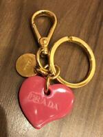 Prada Keyring Keychain Heart Pink Gold Bag Charm Key Holder Accessory w/Box