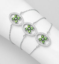 "6-7"" Sterling Silver CZ & Green Chrome Diopside Tri-Flower Bracelet 58mm wide"