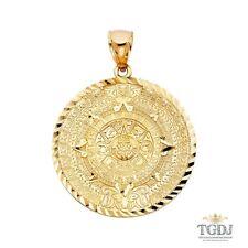 14K Yellow Gold  Calendario Azteca Pendant,Height:40 MM Width:40 MM