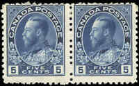 Mint H Canada 1914 F 5c Pair of Scott #111 King George V Admiral Stamps
