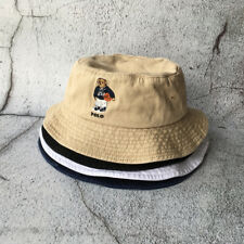 Bucket Hat Vintage Cap Embroidery Basketball Teddy Bear Men's Blue Beige Cap NEW